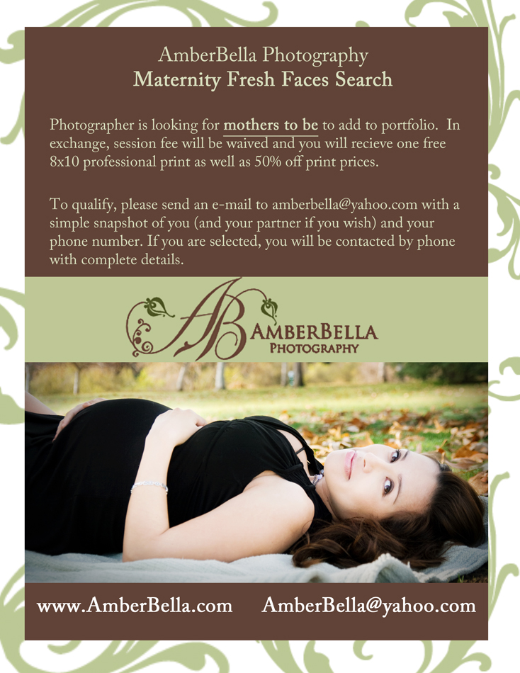 free maternity photo session flyer, fresh faces search